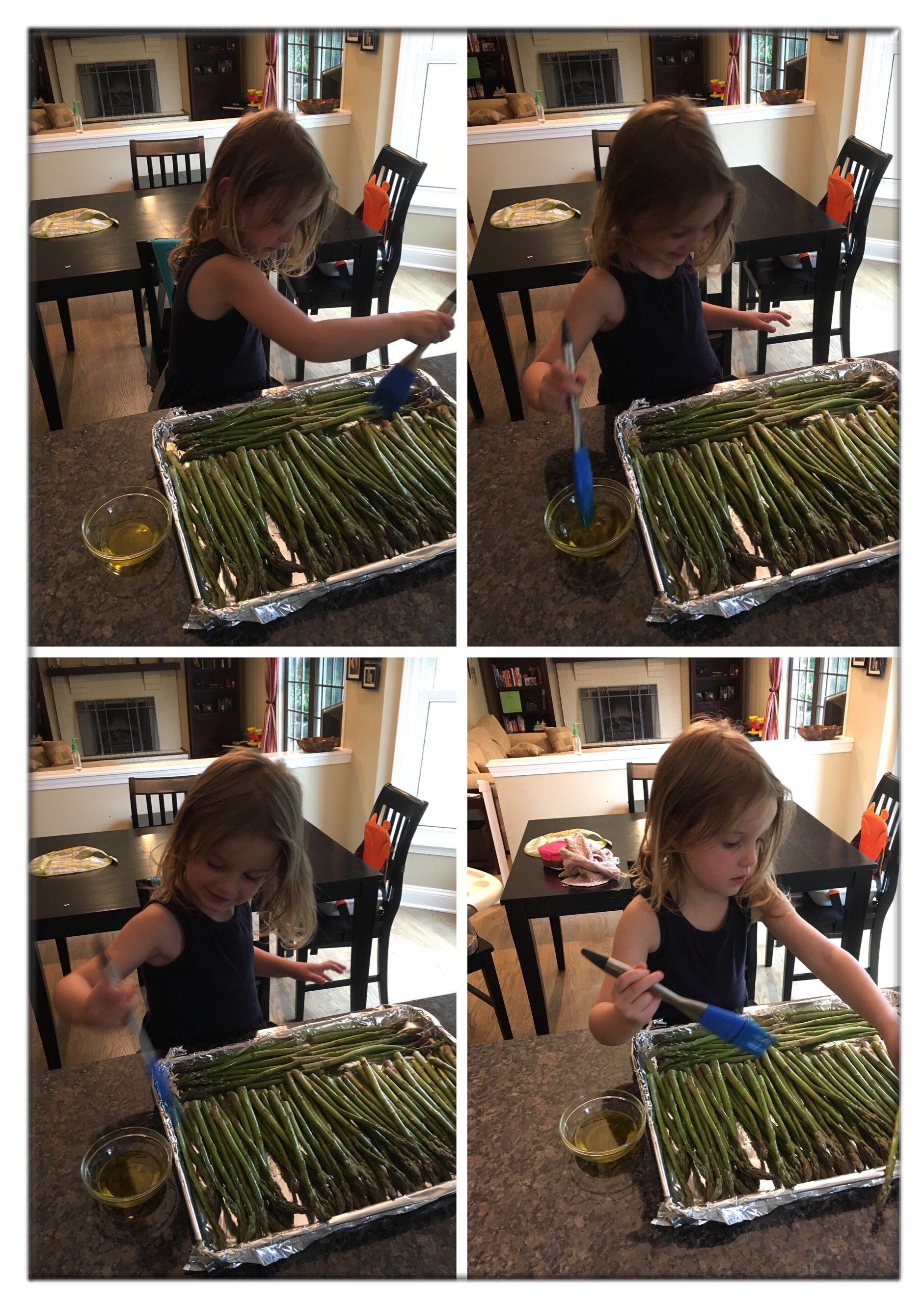 Painting asparagus for oven roasting
